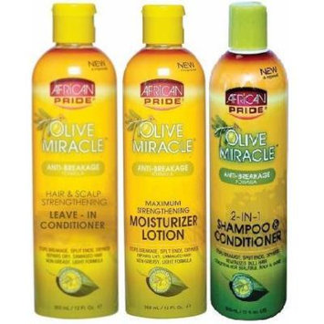 African Pride Olive Miracle TRIO SET (Shampoo/Conditioner, Moisturizer lotion, Leave In Conditioner) Plus 1 Free of Apple EYE Pencil Color: radiant blue