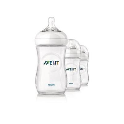 Philips Avent Natural Baby Feeding Bottles 260ml 9oz Triple 3 Pack Scf693/37 Great Gift for Baby Free Shipping Ship Worldwide
