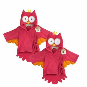 Baby Aspen Terry Cotton Hooded Baby Bath Robe, Twin Pack, Pink Owl