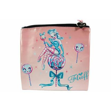 Rockabilly Pinup Lollipop Candy Kiss Pinup Girl Flat Makeup Bag / Cosmetic Pouch