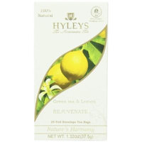 Hyleys Tea Nature's Harmony Green Tea Bags with Lemon In Foil Envelopes, 1.32-Ounce Packages (Pack of 12)
