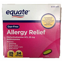 Dye-Free Allergy Relief, Diphenhydramine HCl, 25mg, 24ct, by Equate, Compare to Benadryl Dye-Free LIQUI-GELS