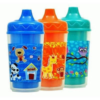 Sippy Cups, Baby Toddler, Double-Wall, Animal Designs, 3-pk