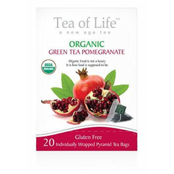 Tea Of Life Organic Green Tea, Pomegranate, 20 Count