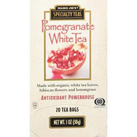 Trader Joe's Speciality Pomegranate White Tea Made with Organic White Tea Leaves,hibiscus Flowers and Lemongrass 20 Tea Bags