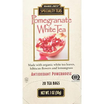 Trader Joe's Speciality Pomegranate White Tea Made with Organic White Tea Leaves,hibiscus Flowers and Lemongrass 20 Tea Bags