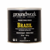 Groundwork Coffee, Organic Brazil, Whole Bean, 16-Ounce Cans (Pack of 2)