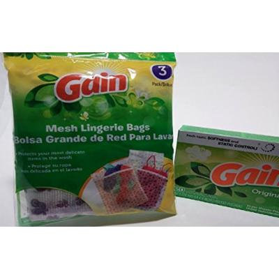 Gain Mesh Lingerie Bag 3 Pack, with 1 Gain Original Scent Dryer Sheet 20 Ct (Great for Travel)