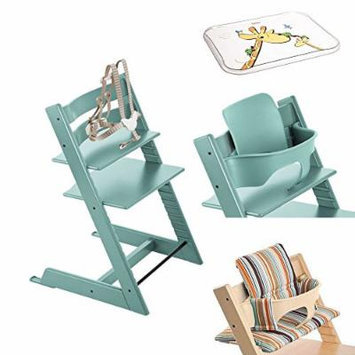 Stokke Tripp Trapp Chair w Baby Set, Stokke Table Top & Signature Stripe Cushion (Aqua Blue)
