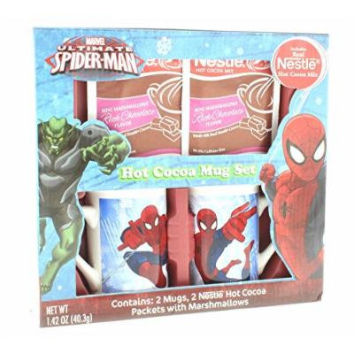 Spiderman Hot Cocoa Mug Set, Includes: 2 Mugs and 2 Nestlé Cocoa Packets