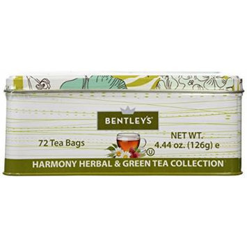 Bentley's Harmony Tin Collection, Herbal and Green Tea, 72 Count
