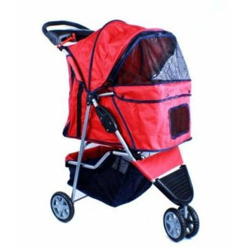 New Deluxe Folding 3 Wheel Pet Stroller Dog Cat Carrier w Cup Holder Tray -Red