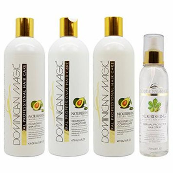 Dominican Magic Nourishing Shampoo & Conditioner & Moisture Lock Leave on & Thermal Protector Hair Spray 6oz