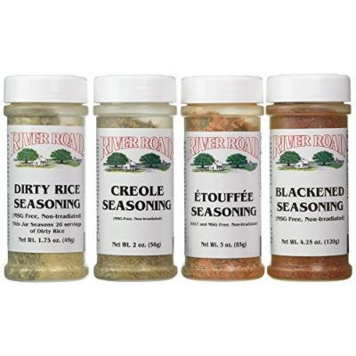 River Road By Fiesta MSG-Free Cajun Seasoning Favorites 4 Flavor Variety Bundle: (1) Blackened Seasoning, (1) Creole Seasoning, (1) Etouffee Seasoning, and (1) Dirty Rice Seasoning, 1.75-4.25 Oz. Ea. (4 Bottles Total)