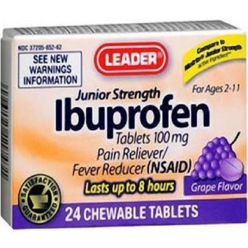 Leader Junior Strength Ibuprofen Grape Chewable Tablets 24 ct (pack of 3)