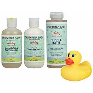 California Baby Shampoo & Body Wash, Conditioner and Bubble Bath Set with Bonus Bath Duck, Calming