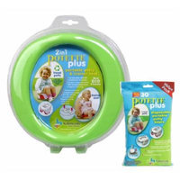 Kalencom 2 in 1 Potette Plus Portable Potty-Toilet Training Seat, Green with 30 Potty Liners Set