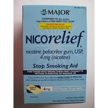 Nicorelief Original Flavor 4mg Nicotine Polacrilex Gum Stop Smoking Aid 110 Pieces