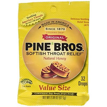 Pine Bros. Softish Throat Drops Value Pack, Natural Honey 32 ea Pack of 12