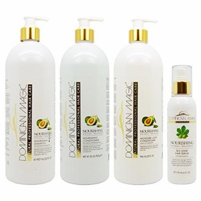 Dominican Magic Nourishing Shampoo & Conditioner & Moisture Lock Leave on 32oz & Silk Shine Serum 6oz