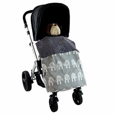 Stroller Blanket Elephants Grey - No-Fall Universal Stroller Blanket, Rolls In & Out As Needed, Sac-like Design Keeps Warm Air In, Handmade in USA.
