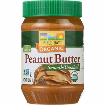 Field Day Organic Easy Spread Peanut Butter, Smooth, No Salt (12x18Oz )