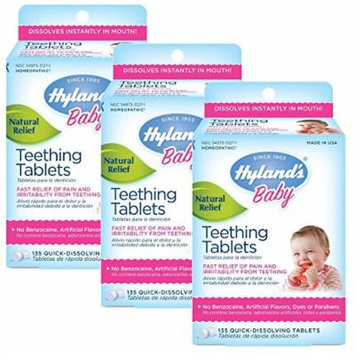 Hyland's Homeopathic Teething Tablets, 135 Count, Pack of 3