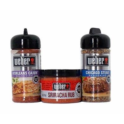 Weber All Natural Gluten-Free Seasoning Blend And Rub 3 Flavor Variety Bundle: (1) Weber N'Orleans Cajun Seasoning Blend, (1) Weber Sriracha Rub, and (1) Weber Chicago Steak Seasoning Blend, 4.5-5.5 Oz. Ea. (3 Total)