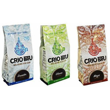 Crio Bru Brewed Cocoa 100% Roasted and Ground Cocoa Beans Variety Pack of 3