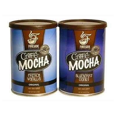 Fireside Gourmet Cafe Mocha Blueberry Donut and French Vanilla Instant Coffee 2 Can Bundle Best Hot or Iced