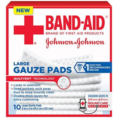 Band-Aid First Aid Large Gauze Pads, 4 In X 4 In, 10 Count (Pack of 6)