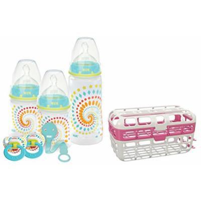 NUK Fashion Orthodontic Baby Bottle Gift Set with High Capacity Dishwasher Basket, Pink