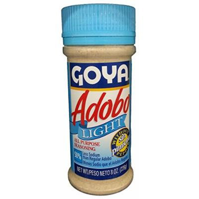 Goya Adobo Light without Pepper - 8 oz All Purpose Seasoning 50% Less Sodium (2 units)