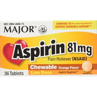 Aspirin 81mg Chewable Orange Flavored Tablets Generic for Bayer Children's Aspirin 36 Tabs per Boxe Pack of 12 Toatal 432 Tabs.