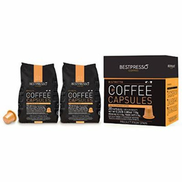 120 Bestpresso Nespresso Compatible Gourmet Coffee Capsules - Nespresso Pods Alternative: Ristretto Blend Natural Espresso Flavor (High Intensity) - Certified Genuine Espresso