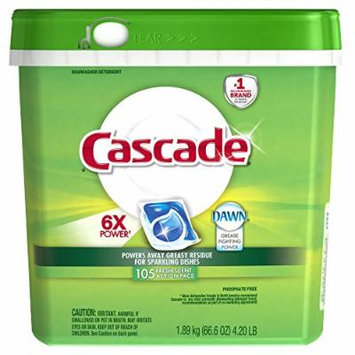 Cascade Fresh Scent Dishwashing Detergent Action Pacs, 105 Count