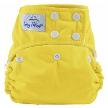 Happy Heinys ONE for ALL One Size Cloth Diaper with Snap Closure + 2 Microfiber Inserts (Yellow)