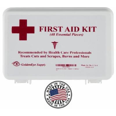 Premium 48 Piece Family First Aid Kit by GoldenEye Supply with Basic Medical Safety Supplies for Auto, Home, Car, Office, Vehicle, Motorcycle, Hiking, Backpack, Boat, Kayak, Automobile Travel, Roadside Emergency, Treats Minor Cuts, Scrapes & Burns
