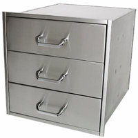Solaire Wide/Deep Stainless Steel Drawer Set for Built-in Islands, Set of 3