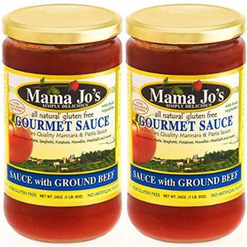 Mama Jo's Delicious Gourmet Sauce -Has lots of Ground Beef. Beef Stew. Pasta/Spaghetti Sauce. Beef Bolognese. Great for Rice, Meatballs, Ravioli etc. All Natural Gluten Free No High Fructose Corn Syrup No MSG Reduced Sodium 2Pack - 24oz