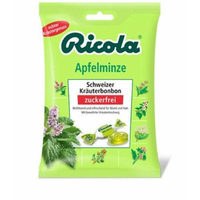 Ricola Applemint Sugarfree Swiss herbal Bonbon (3 Bags each 75g) - fresh from Germany