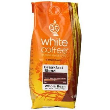 White Coffee Whole Bean Coffee, Breakfast Blend, 12 Ounce