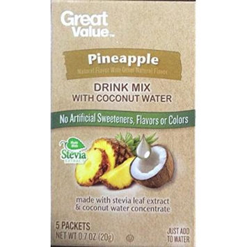 Great Value Pineapple Drink Mix with Coconut Water 5 Packets (Pack of 2)