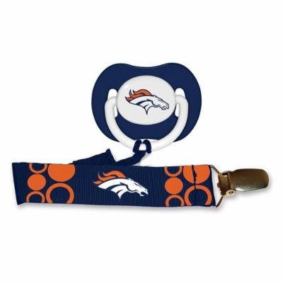 NFL Officially Licensed Orthodontic Pacifier With Clip (Denver Broncos)