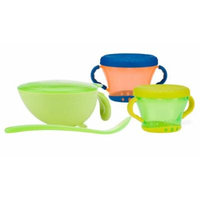 Nuby Non-Skid Comfort Grip Feeding Bowl with 2 Pack Snack Keeper, Green