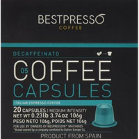 20 Bestpresso Nespresso Compatible Gourmet Coffee Capsules - Nespresso Pods Alternative: Decaffeinato Blend Natural Espresso Flavor (Medium Intensity) - Certified Genuine Espresso