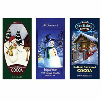 Salted Caramel Cocoa, Belgian White Hot Chocolate and Chocolate & Cinnamon Hot Cocoa Set of SIX Single Serve Packets - Best Kosher Certified Gourmet Gift or Stocking Stuffer