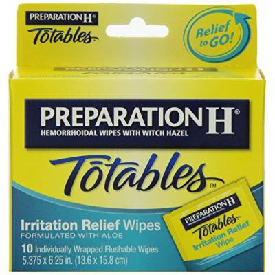 Preparation H Wipes, Totables, 10 Count Pack of 4