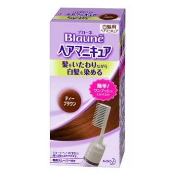 Kao Blaune , Hair Manicure , Tea Brown w/ Integrated Comb for Gray Hair (Japan Import)