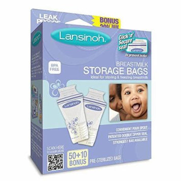 Lansinoh Breast Milk Storage Bags - 50 Count + 10 Count Bonus Pack